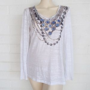 Cache Large blue jeweled necklace print v neck top
